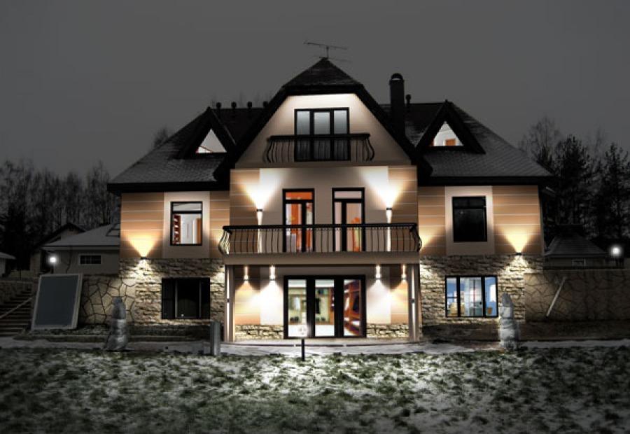 фасадная подсветка загородного дома